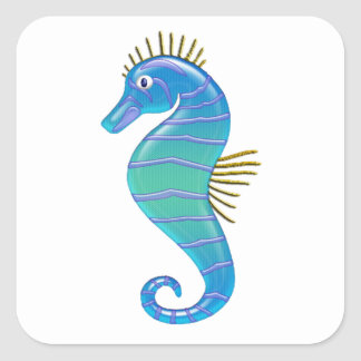Blue & Lavender Stained Glass Seahorse Square Sticker