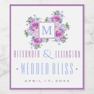 Blue Lavender Watercolor Flowers Monogram Wedding Wine Label