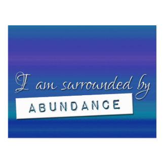 Blue Law of Attraction Abundance Affirmation Postcard