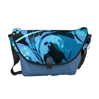 Blue Leaf Scroll Vector Abstract Art Messenger Bag