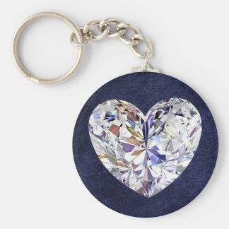 Blue Leather Diamond Heart Keychain