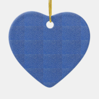 Blue Leather look texture background add text img Ceramic Heart Decoration
