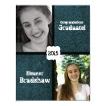"""Blue Leather Look Two Photo Graduation Party 4.25"""" X 5.5"""" Invitation Card"""