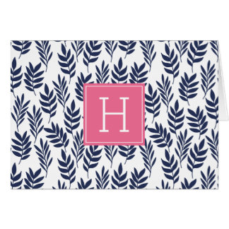 Blue Leaves and Pink Monogram Card