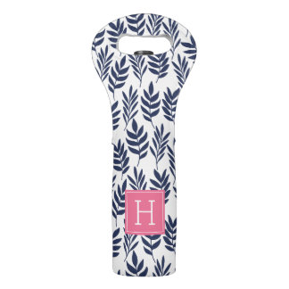 Blue Leaves and Pink Monogram Wine Bag