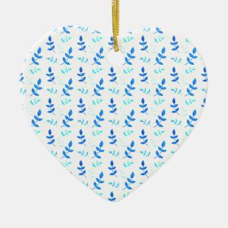 Blue leaves - Blue Leaves Ceramic Ornament