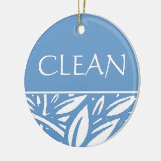 Blue Leaves Clean Dirty Dishwasher Hanger Round Ceramic Decoration