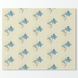 Blue Leaves Floral Wrapping Paper
