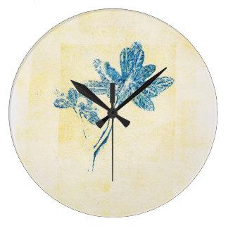 Blue Leaves Monoprint Clock