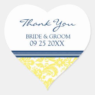 Blue Lemon Damask Thank You Wedding Favor Tags Heart Sticker