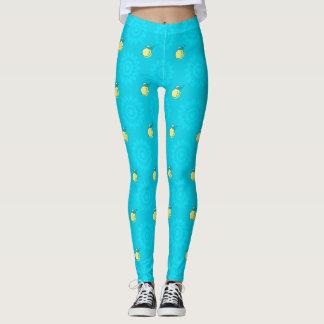 Blue Lemon Pattern Leggings