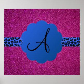 Blue leopard monogram pink glitter poster