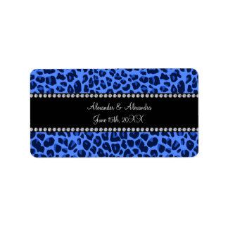 Blue leopard pattern wedding favors address label