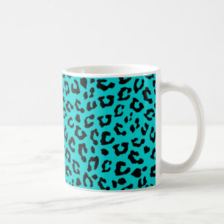 Blue Leopard Print Aqua Turquoise Black Spots Basic White Mug