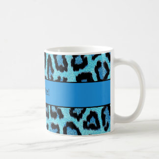 Blue Leopard Print Coffee Mug