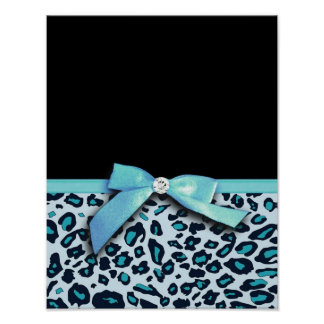 Blue leopard print ribbon bow graphic