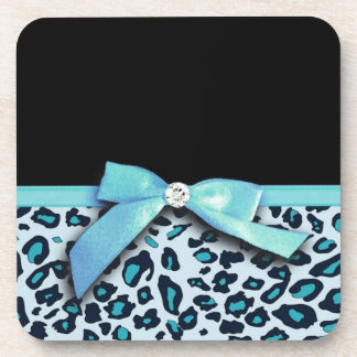 Blue leopard print ribbon bow graphic beverage coasters