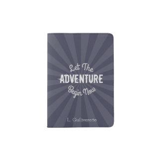 Blue Let The Adventure Begin Now with Starburst Passport Holder