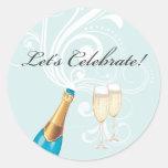 "Blue ""Let's Celebrate!"" Champagne Sticker"