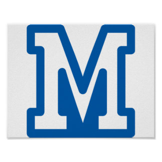 Blue Letter M Poster