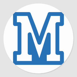 Blue Letter M Stickers