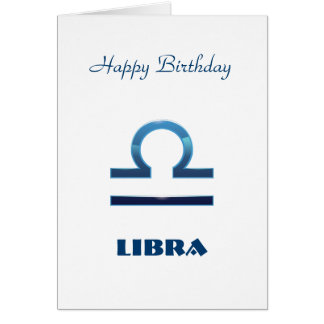 Blue Libra Zodiac Signs Birthday Card