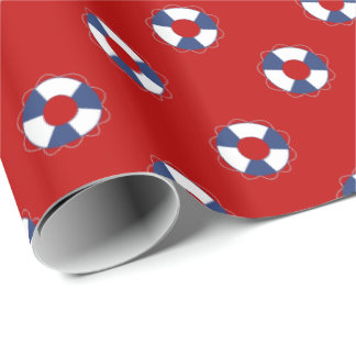 Blue Life Preservers over Any Color Background Wrapping Paper