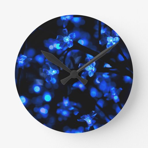 Blue Lighted Background Round Wall Clock