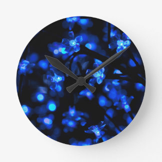 Blue Lighted Background Round Clock