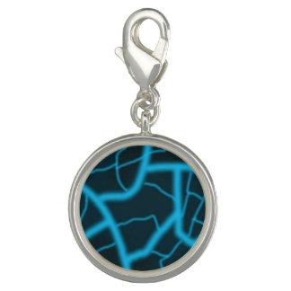Blue Lightening Round Charm