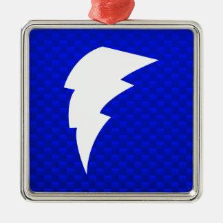 Blue Lightning Bolt Metal Ornament