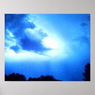 Blue lightning, casting shafts of light downward poster