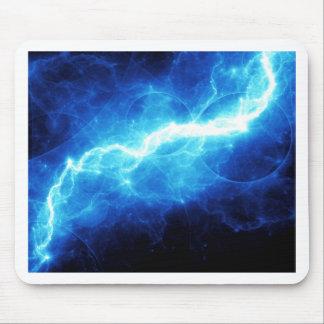 Blue lightning mouse pad