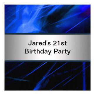 Blue Lights Mans 21st Birthday Party Custom Invite