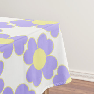 Blue Lilac and Butter Heart Flowers Tablecloth