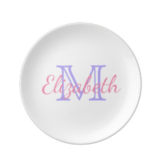 Blue Lilac and Happy Pink Monogram Plate