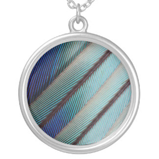Blue Lilac Breasted Roller feather Silver Plated Necklace