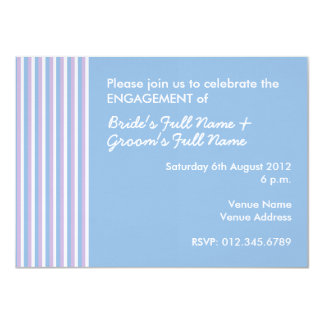Blue Lilac White Stripes blue Engagement Invite