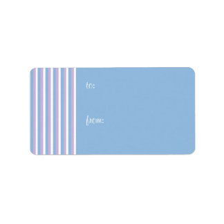 Blue Lilac White Stripes blue Gift Tag Address Label