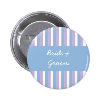 Blue Lilac White Stripes blue Wedding Button