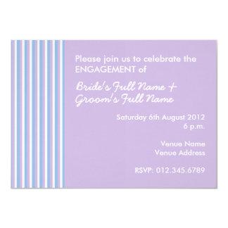 Blue Lilac White Stripes lilac Engagement Invite
