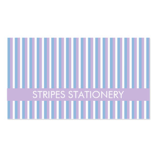 Blue Lilac White Stripes lilac Pack Of Standard Business Cards