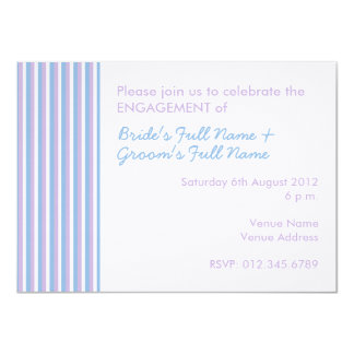 Blue Lilac White Stripes white Engagement Invite