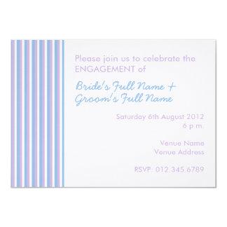 Blue Lilac White Stripes white Engagement Invite