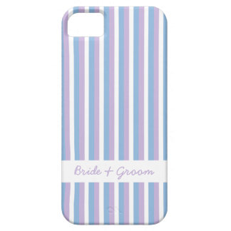Blue Lilac White Stripes white Wedding iPhone 5 Barely There iPhone 5 Case