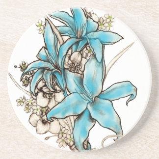 Blue Lilies Beverage Coaster