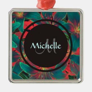 Blue Lilies Monogram Name Ornament