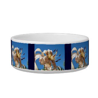 Blue Lily Flower Pet Food Bowls Water Bowl Lilies