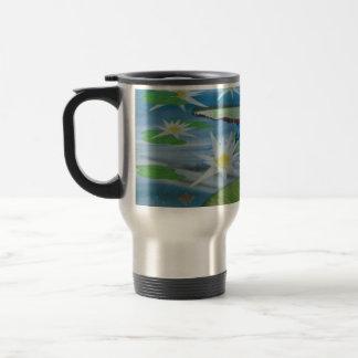 Blue_Lily_Pad_Frogs,_ Travel Mug