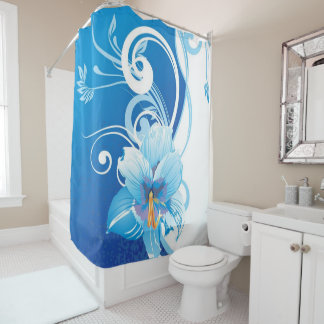 blue lily shower curtain